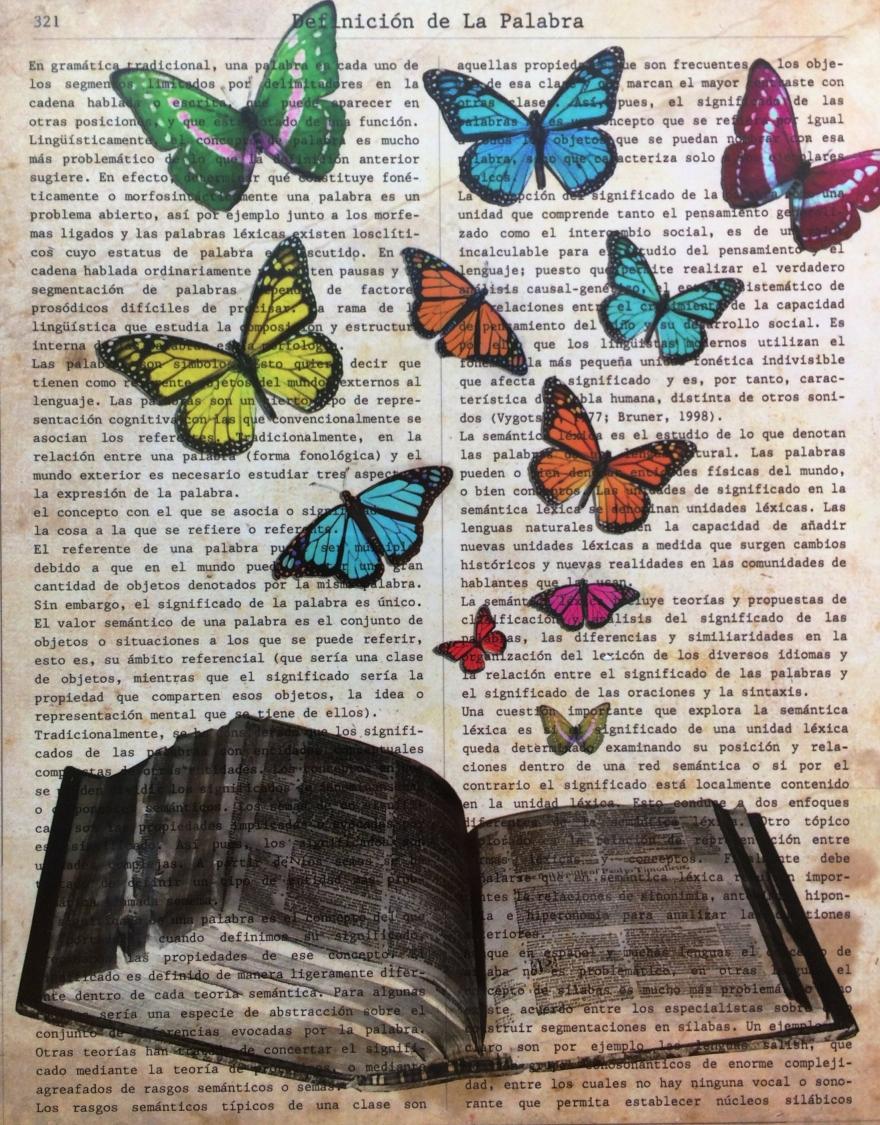 Libro con mariposas que salen de sus páginas