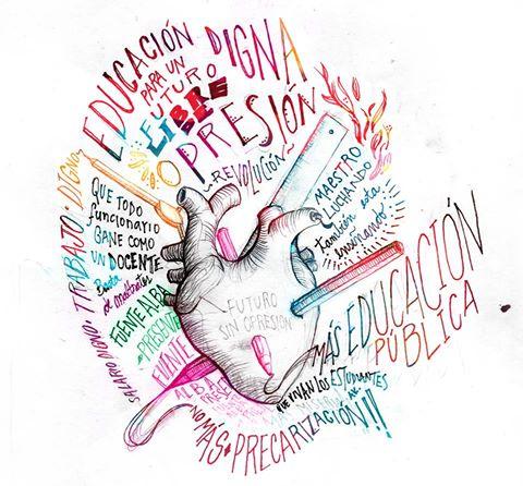 Imagen de un corazón atravesado por símbolos relacionados con la educación